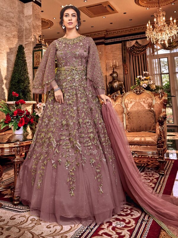Mauve Net Embroidered Gown