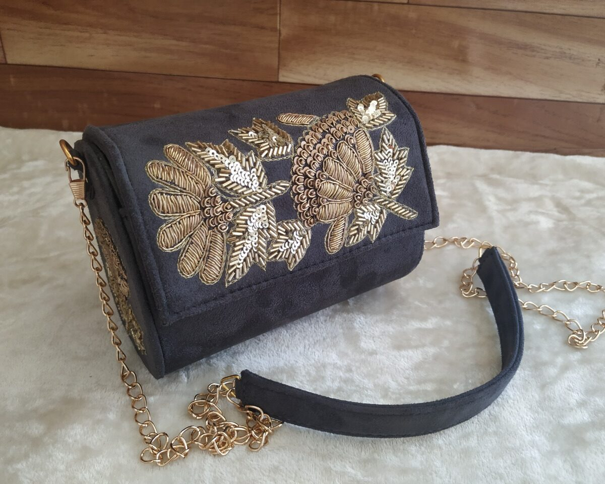 Black Embroidered Sling Bags